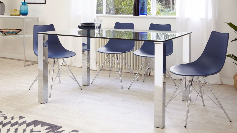 Tiva 4 To 6 Seater Glass And Chrome Dining Table Danetti
