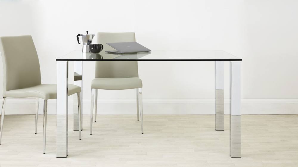 Chrome legged glass table