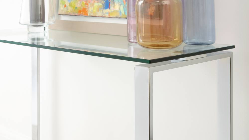 Modern Glass and chrome Console table UK delivery