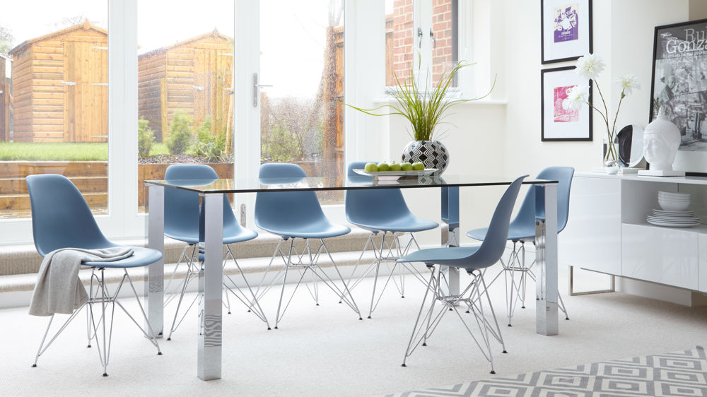 Contemporary Glass Dining Table and Eames Dining Chairs