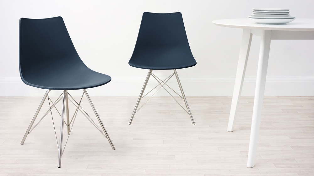 Navy Blue Wipeable Dining Chair
