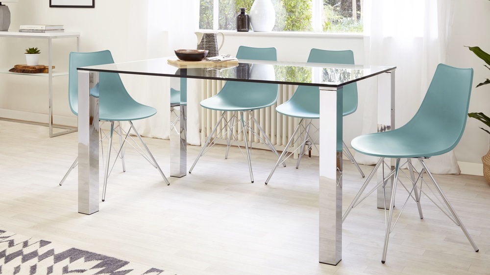 Aqua Dining Set with glass table
