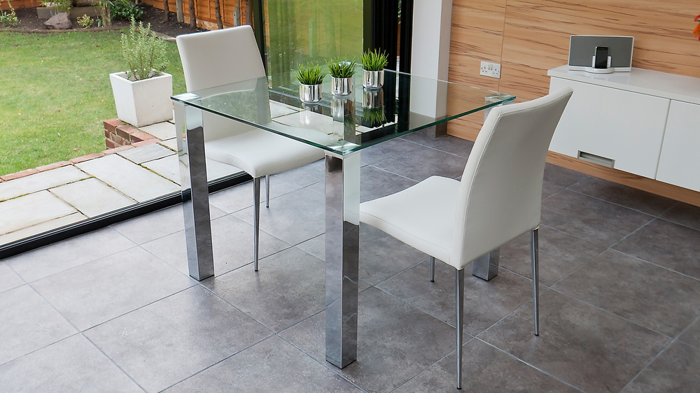 Stylish small dining set chrome and clear glass modern for Small dining table and bench set