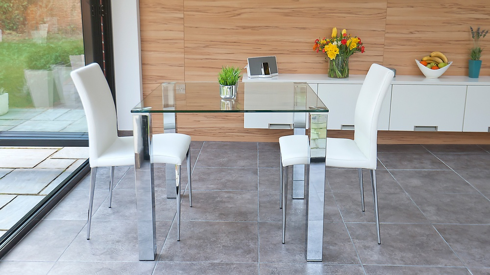 Stylish small dining set chrome and clear glass modern for Glass table and chairs
