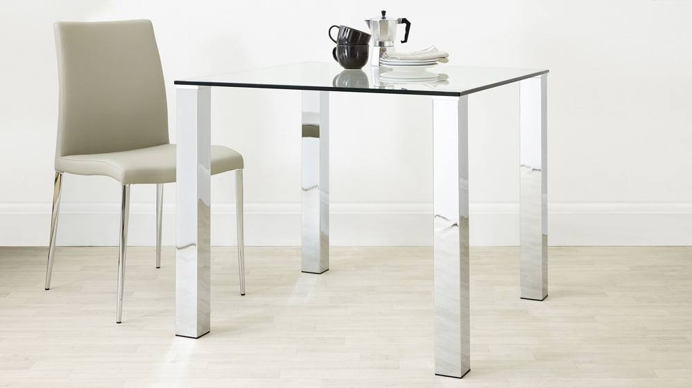 Stylish Small Dining Set Chrome and Clear Glass Modern Chairs