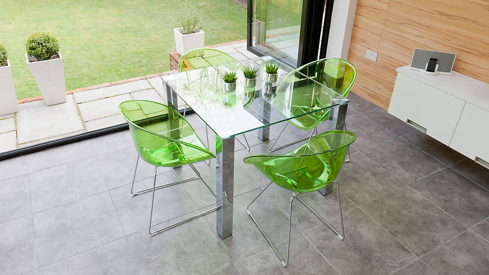 trendy square dining set chrome and clear glass funky