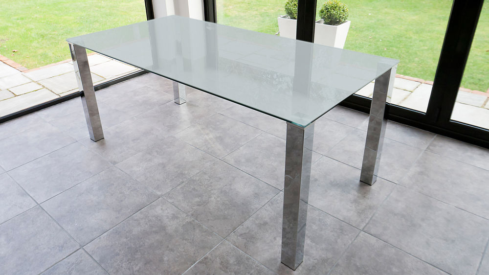 Rectangular frosted glass dining table chrome legs seats 4 6 people Frosted glass furniture