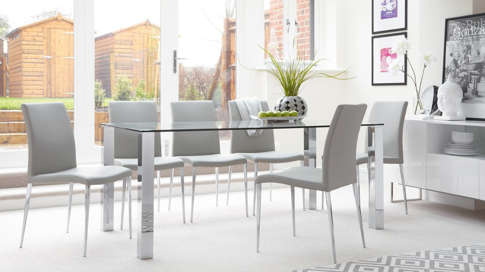 rectangular clear glass dining table| chrome legs| uk