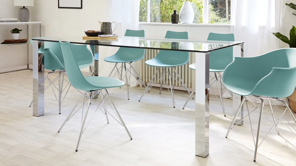 Green Eames Dining Chairs And Large Glass Dining Table