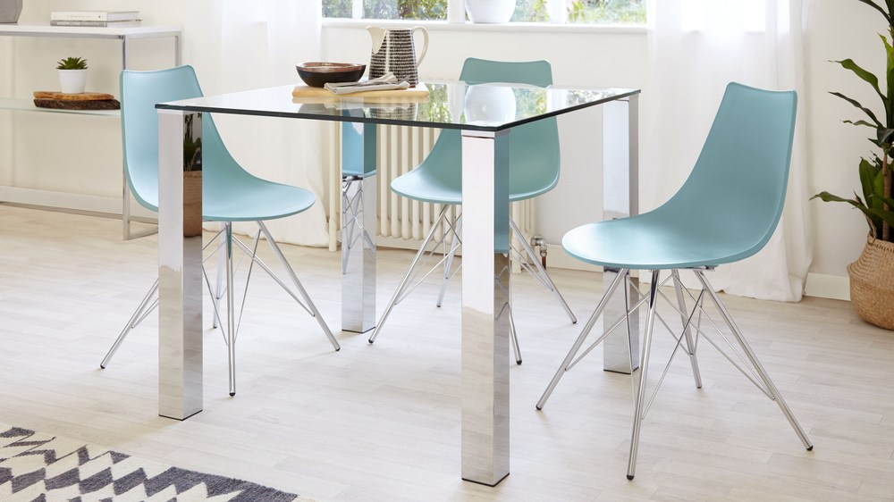 Square Glass Dining Table For 4 | Chrome Legs | Danetti UK