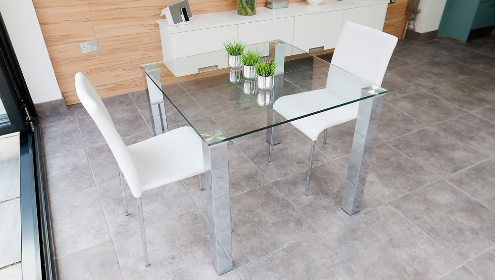 Small Glass Dining Table and White Faux Leather Dining Chairs
