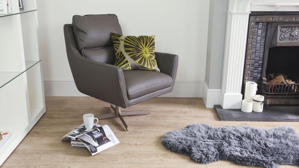 Padded Brown Leather Arm Chair