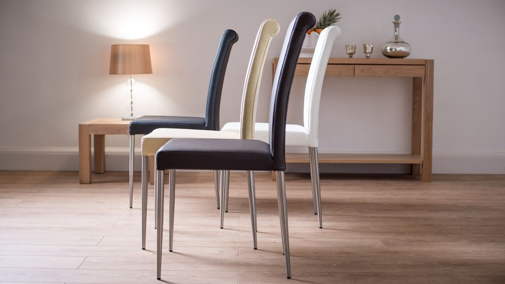Real Leather and Brushed Metal Legged Dining Chairs