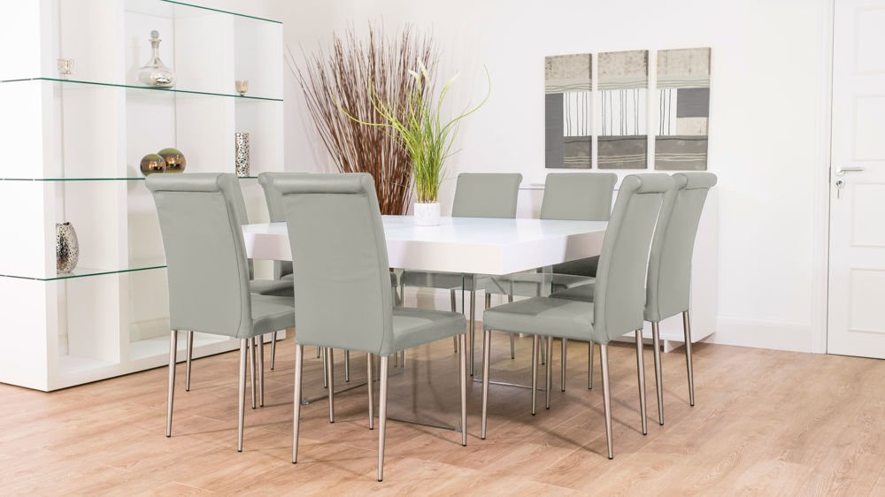 Grey Real Leather Dining Set