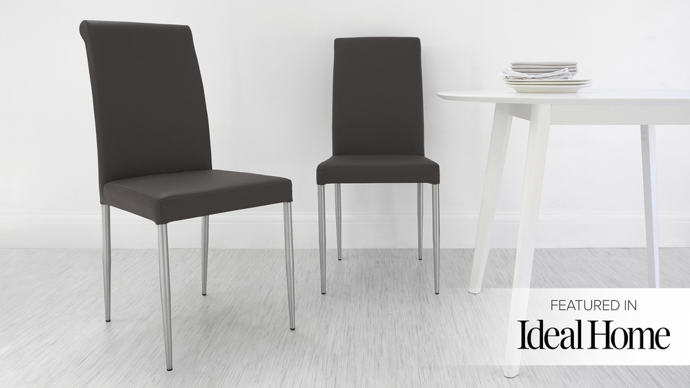 Real Leather Dining Chairs with Metal Legs