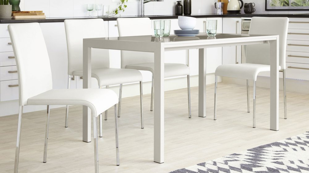 Modern White Leather Stacking chairs