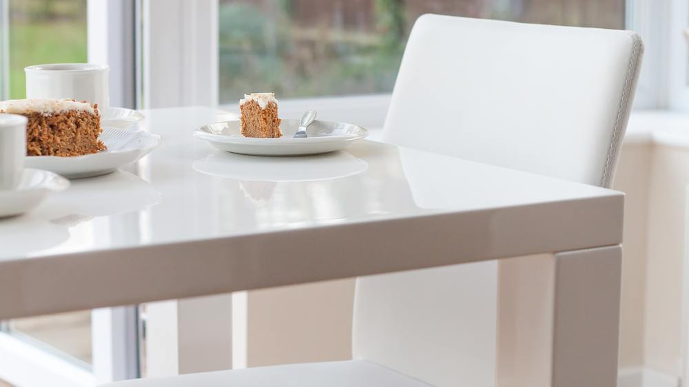 White Leather Stacking Kitchen chairs