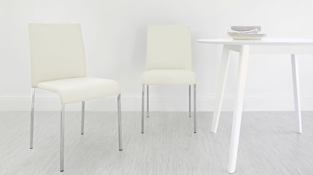 Cream Chrome Dining Chair