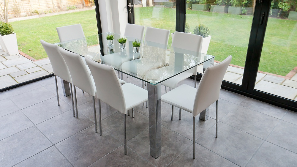 Large Glass Dining Table and Modern Dining Chairs