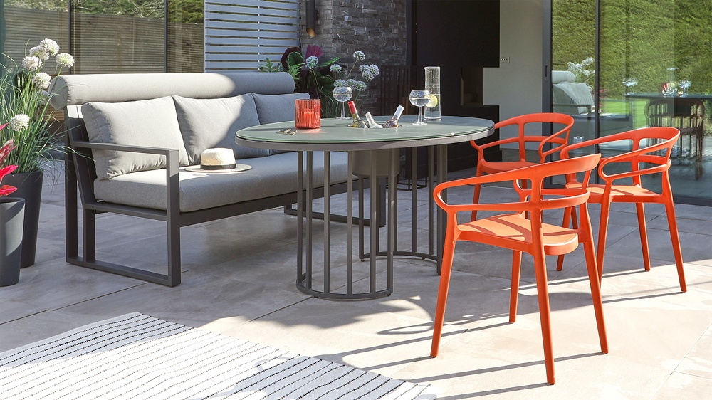 Totem Garden Table with Verano Bench and Alma Chair Set