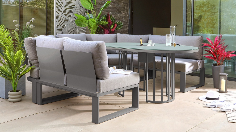 Totem Grey Table with Savannah Curved Garden Dining Bench