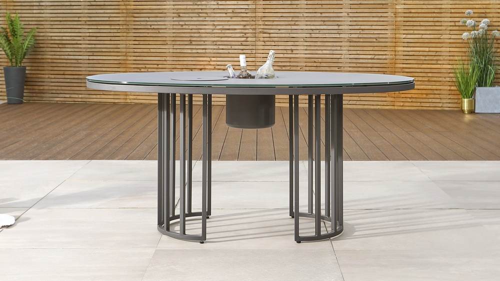 Totem Oval Grey Garden Table and Ice Bucket