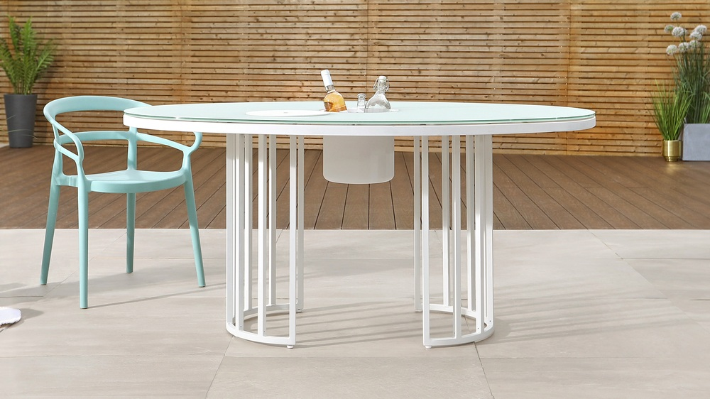 Totem Oval White Glass Garden Table and Ice Bucket