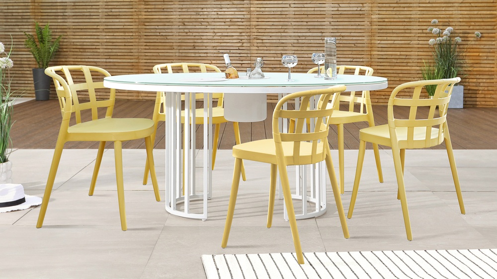 Totem White Table and Skye Garden Dining Set