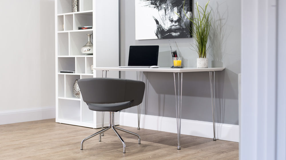White Gloss Desk with Stylish Chrome Legs UK