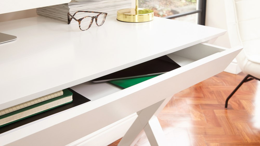 Matt White Drawer Desk