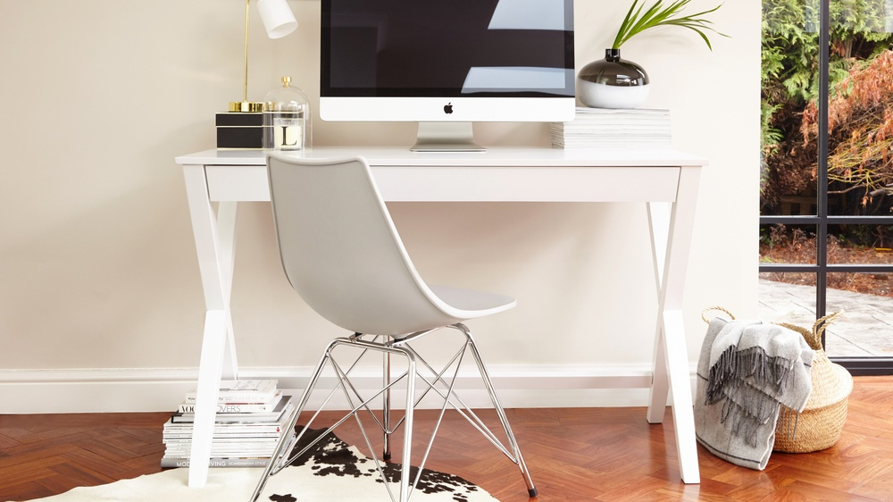 Sturdy White Wooden Desk
