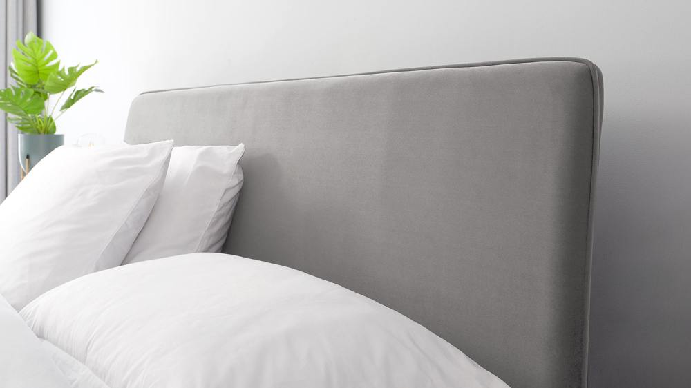 grey velvet simple headboard