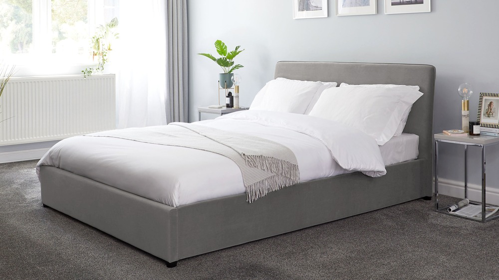 simple grey velvet king size bed