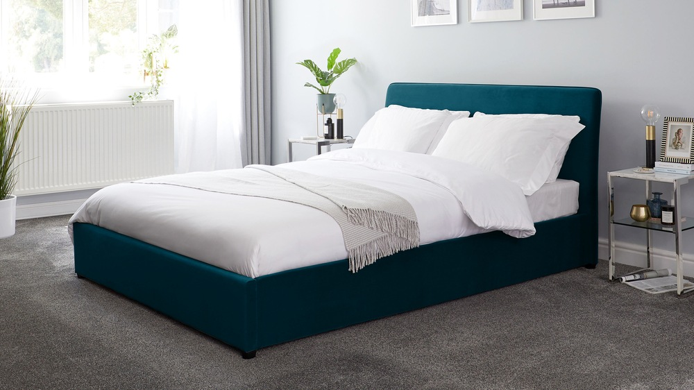 Turin Peacock Velvet Double Bed with Storage