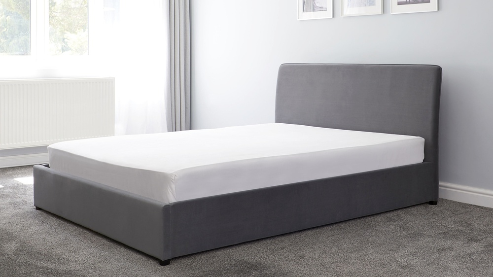 dark grey simple piped storage ottoman bed