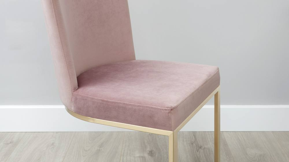 Blush pink and brass cantilever chair