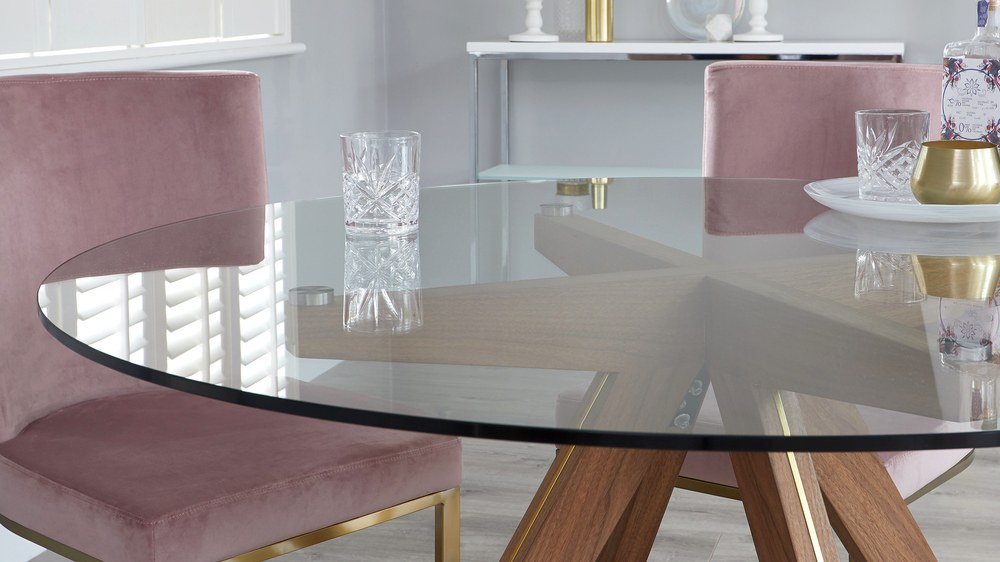 Glass round dining sets