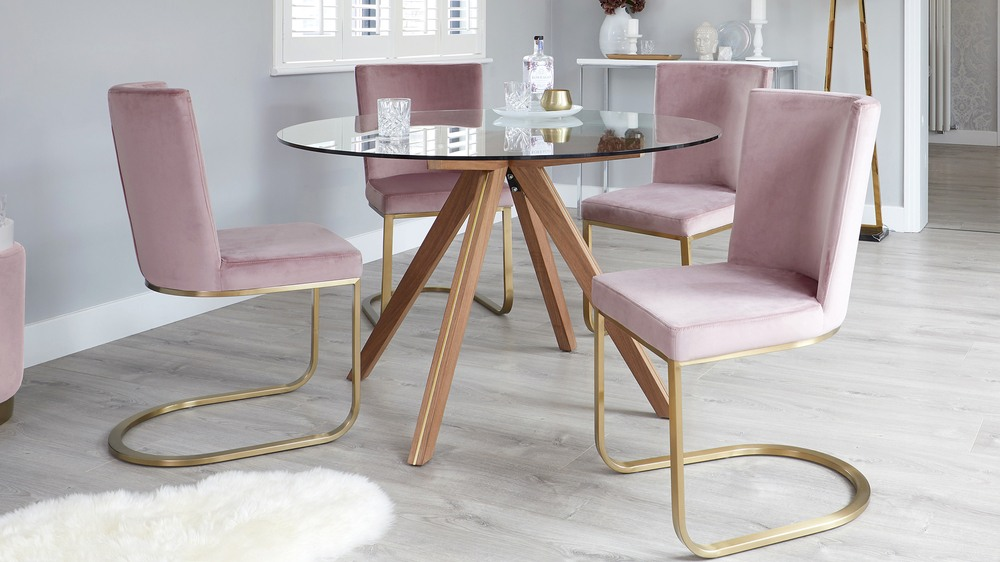 Valencia Clear Glass And Walnut Round 4 Seater Dining Table