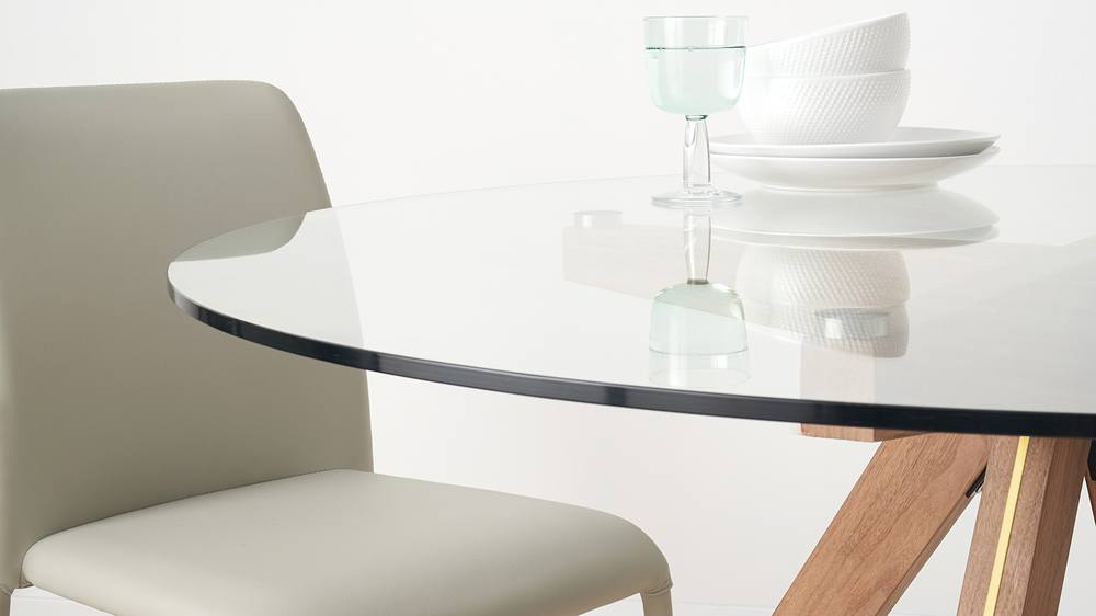 79b4cda79bf Valencia Clear Glass and Walnut Round 4 Seater Dining Table