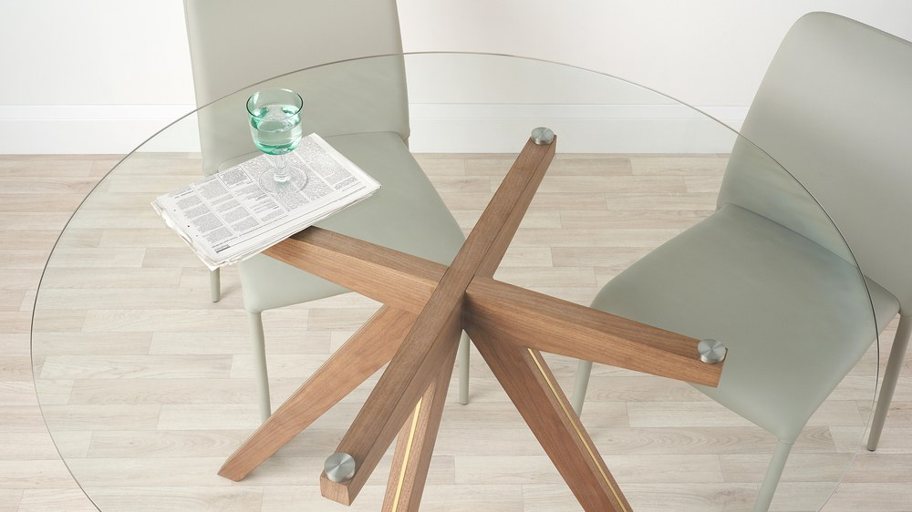 Glass round wooden table