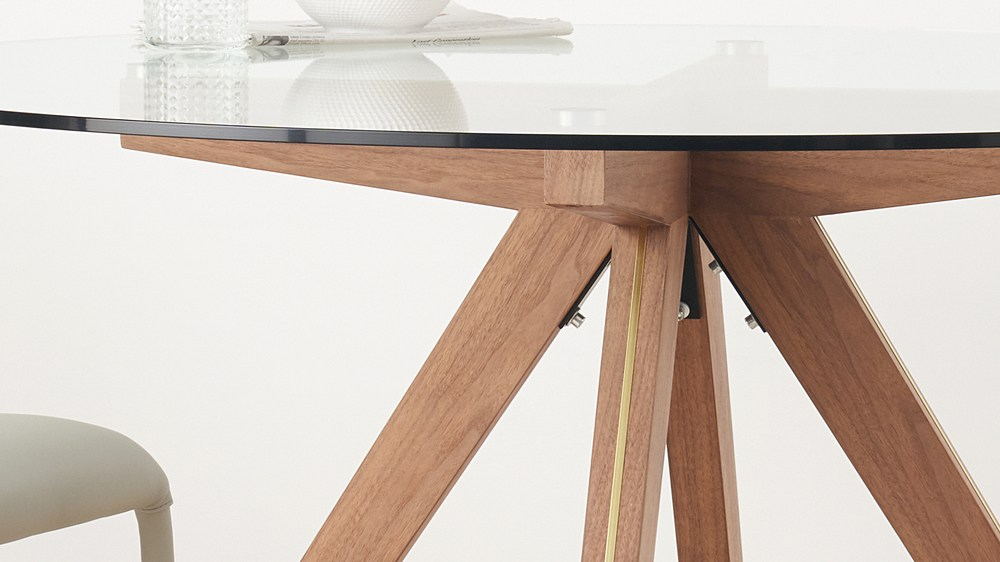 Gold trim wooden modern table