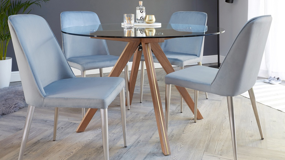 a706c58dffc ... Valencia Clear Glass and Walnut Round 4 Seater Dining Table. Small dining  tables