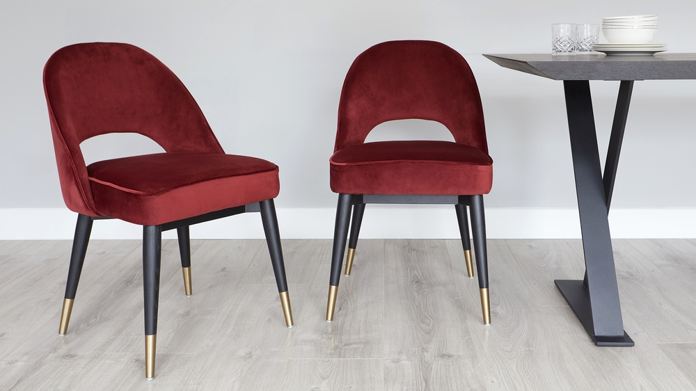 Red velvet dining chairs