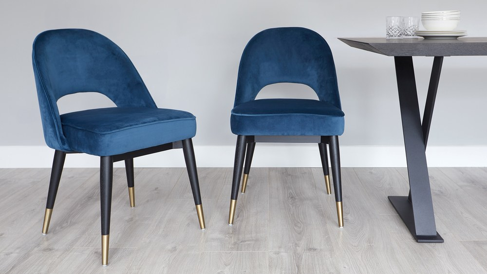 Dark blue velvet dining chairs