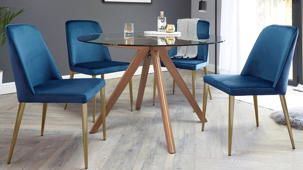Valencia Clear Glass Round and Bay Blue Velvet 4 Seater Dining Set