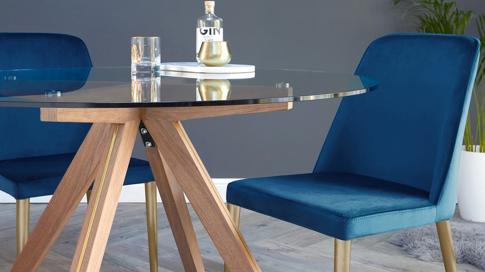 Blue velvet and wooden table set