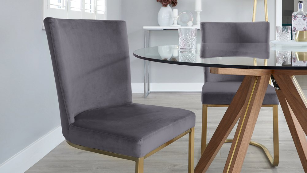 Valencia and Form Grey Velvet 4 Seater Dining Set