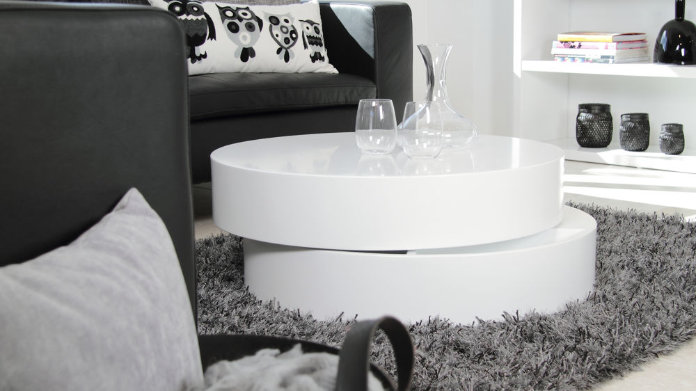 Modern Round White Matt Coffee Table Hidden Storage