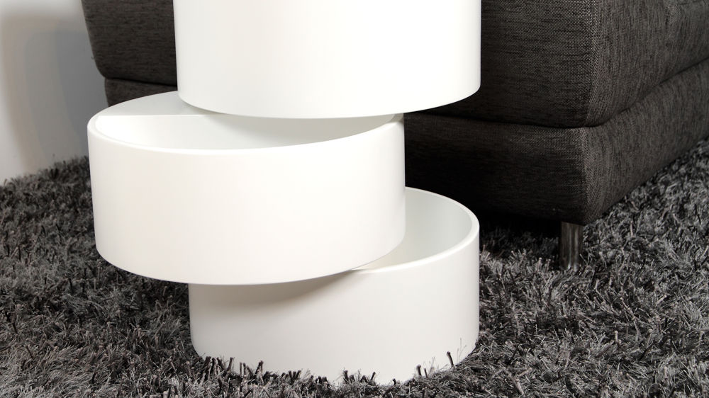 Matt White Coffee Table Internal Storage