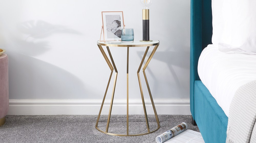 Venus White Glass and Brass Side Table